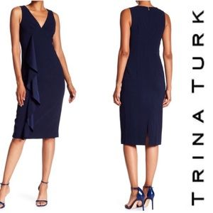 TRINA TURK Navy Blue Cocktail Polished Dress